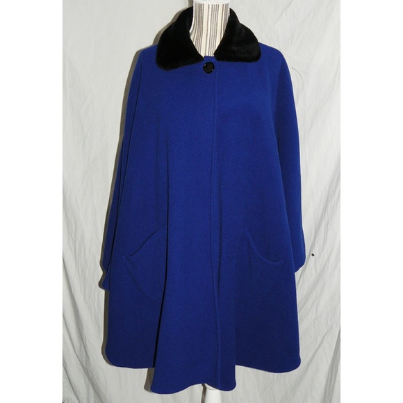LeModa Jackets & Blazers - LeModa Royal Blue Fleece & Faux Fur Cape, OS